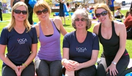 Robin Doten, Laurie Gartrell, Karen Valentino, Sarah Luther at Yoga for Hope San Diego Harbor- Embarcadero