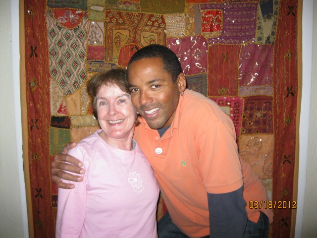 Mariellen Mitchell with Yoga One owner Michael Caldwell
